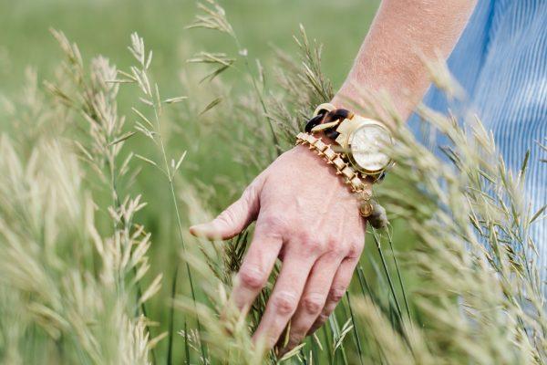 hand brushing tall grass